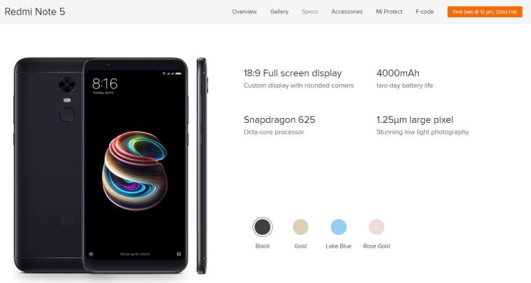 Xiaomi Redmi Note 5 full specs
