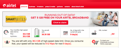 Check Broadband data usage using Airtel smartbytes