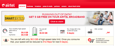 Check Airtel broadband data usage with Smartbytes