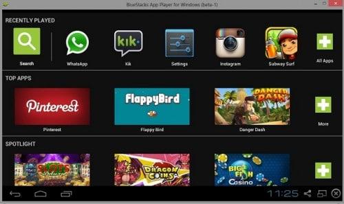 bluestacks app player home screen