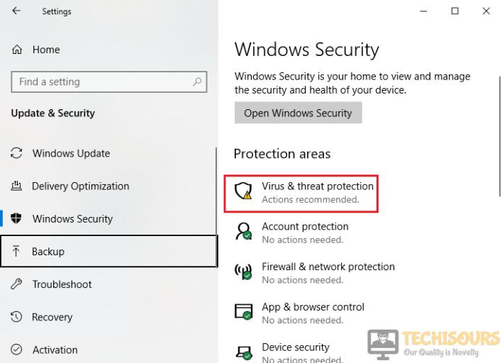 Choosing Virus & threat protection