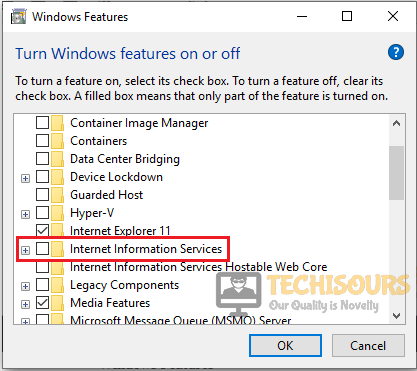 "Uncheck the Internet Info Service to resolve ""feature update to windows 10 version 1709 failed to install"" issue"
