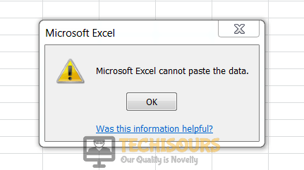 Microsoft excel cannot paste the data error