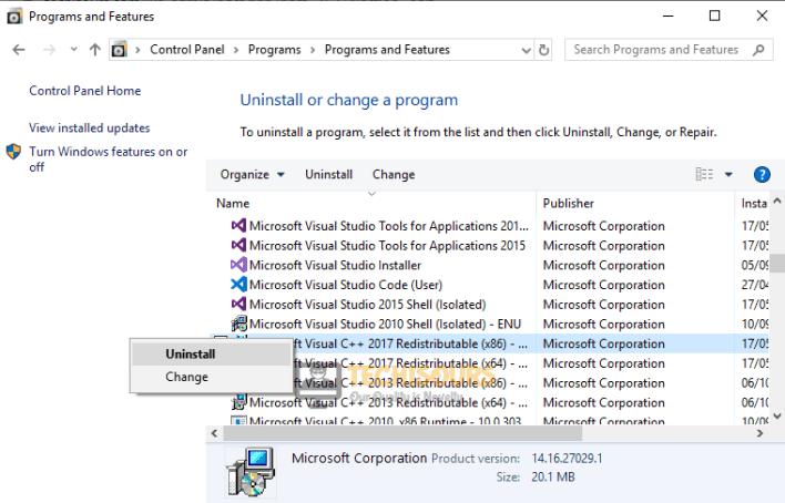 Uninstalling Microsoft Visual C++ Redistributable Package.