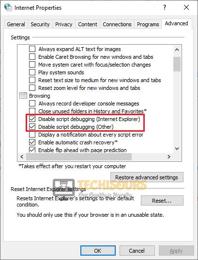 Disable script debugging