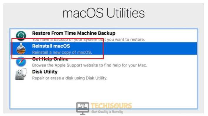 Reinstall macOS to fix the macOS needs to repair your library to run applications Error