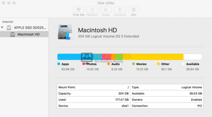 Choosing Macintosh HD to fix the macOS needs to repair your library to run applications Error