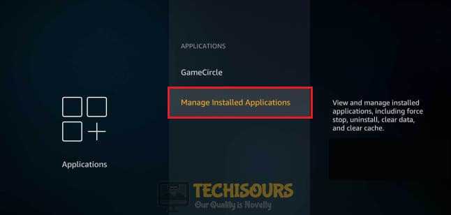 Click on Manage all installed applications option