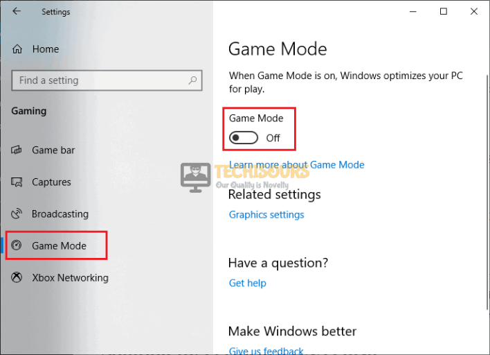 Disable Game Mode to fix dropped frames issue on OBS