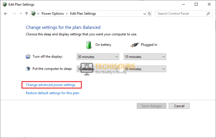 Click on Change Advanced Power Settings to get rid of code 34 issue