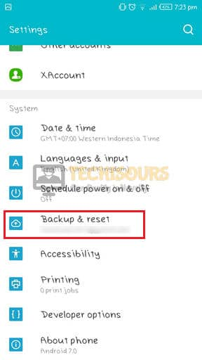 Choose Backup and Reset to get rid of internet may not be available error
