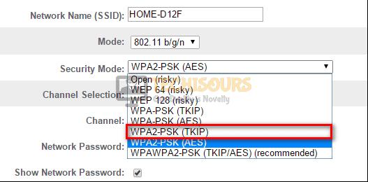 WPAK2-PSK (TKIP)