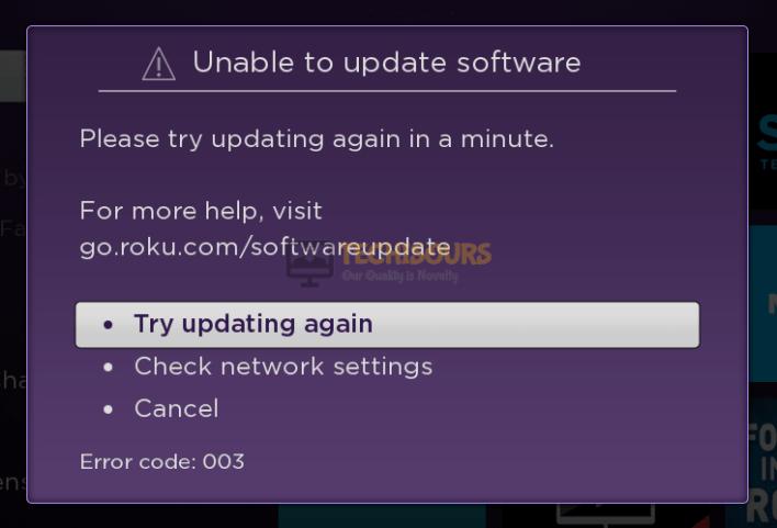 Roku Error Code 003
