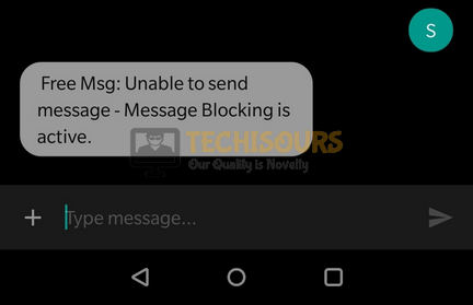 free msg: unable to send message - message blocking is active error message