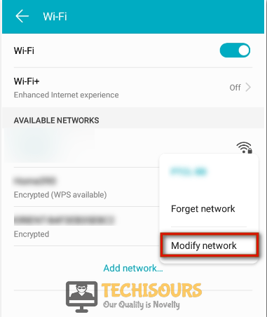 Click modify network to fix internet may not be available error