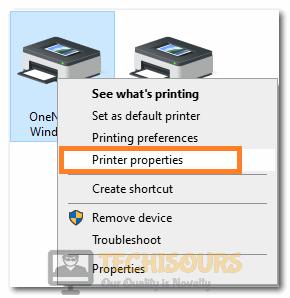 """Selecting """"Printer Properties"""""""