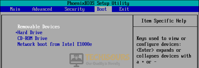 Set boot options to fix error code 0xc00000e9