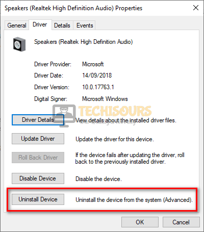 Uninstall Audio driver to get rid of twitch error 4000