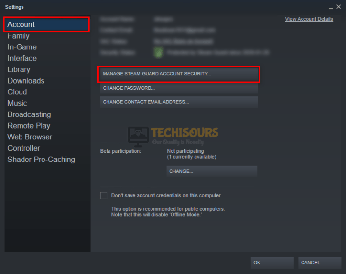 Choose manage steam guard account