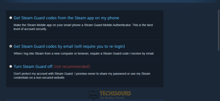Enable steam guard