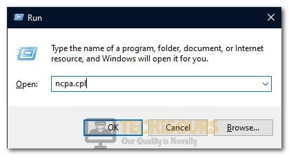 """Typing in """"ncpa.cpl"""""""
