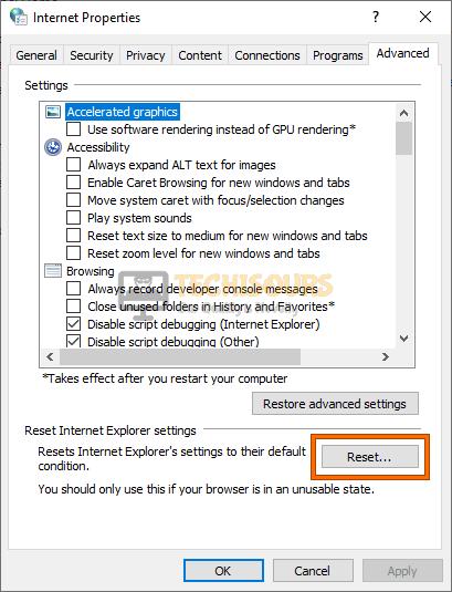 Reset Internet Explorer to fix error code: 232011