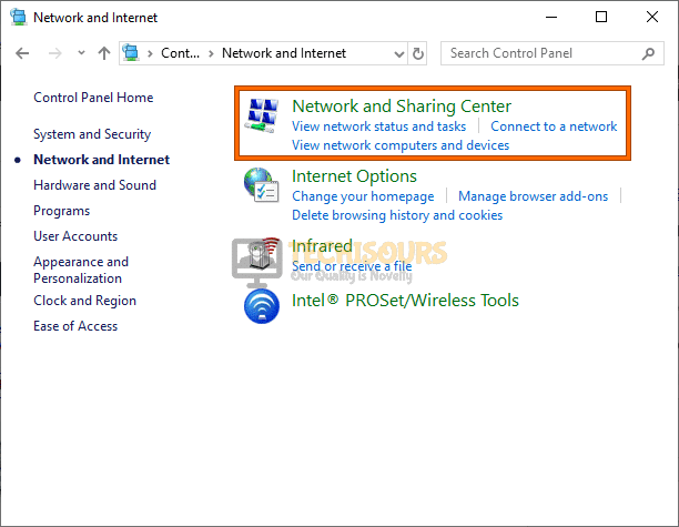 Click on Network and Sharing Center to fix a network cable is not properly plugged in or maybe broken issue