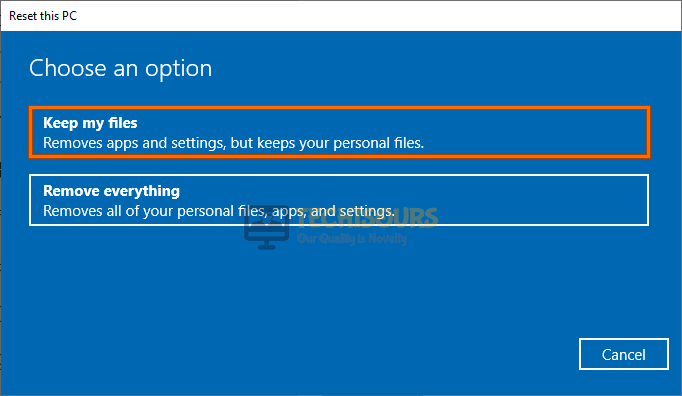 Keep my files to fix the Operation did not complete successfully because the file contains a virus error
