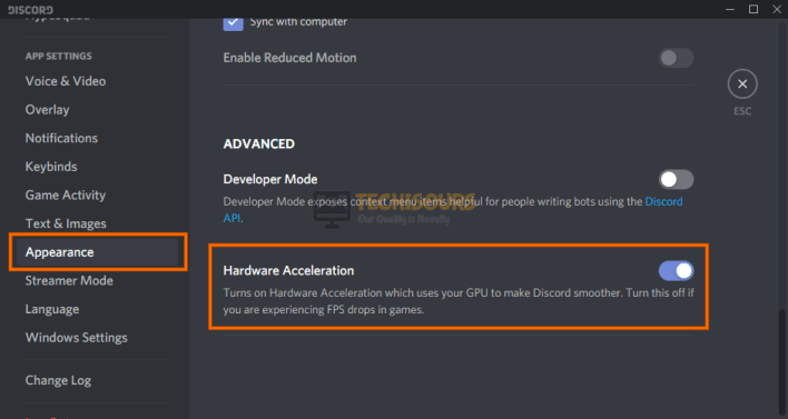 Toggle Hardware Acceleration to fix Discord Blank Screen