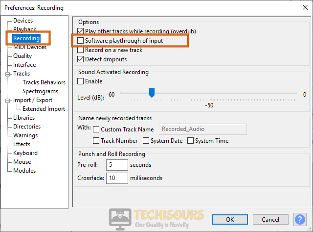 Modify settings to fix audacity error opening sound device