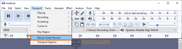 Rescan devices to fix audacity error opening sound device