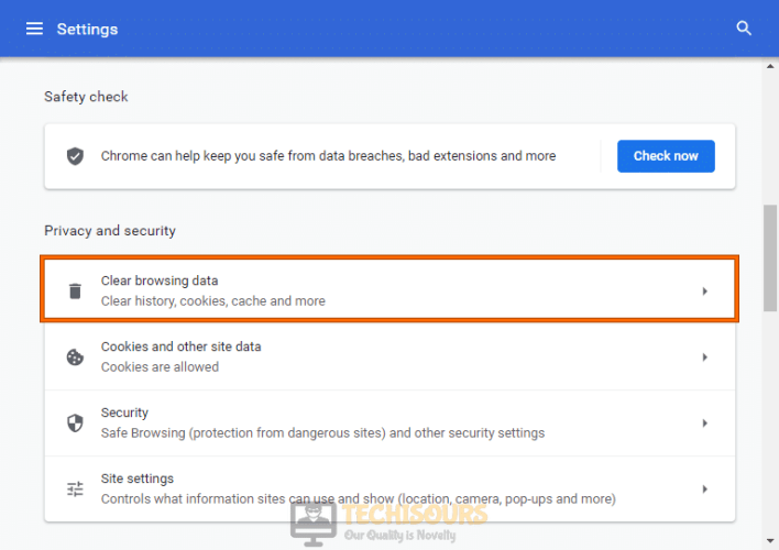 Privacy and security settings