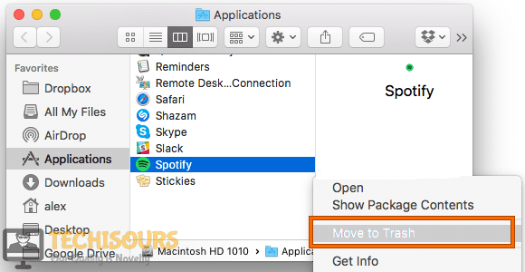 Move to Trash to get rid of spotify failed to migrate some of your data issue