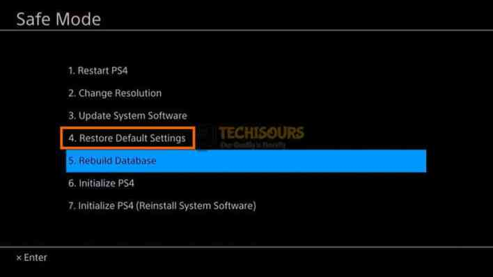 Restore Default Settings to get rid of ps4 error code np-36006-5