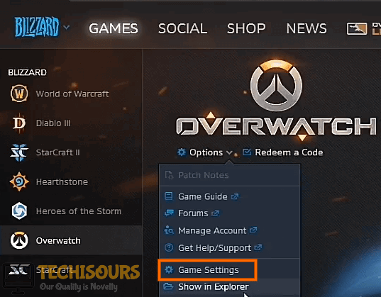Choose Game Settings to fix overwatch black screen problem