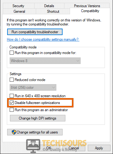 Disable full-screen optimization