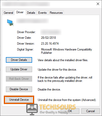 Uninstall Device driver