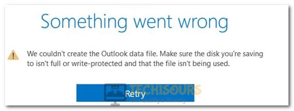 we couldn't create the Outlook data file error