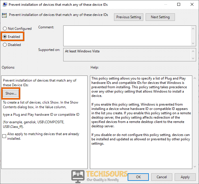 Check the Enable option to get rid of amd radeon settings not opening issue