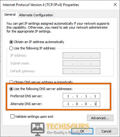 Modify DNS server address
