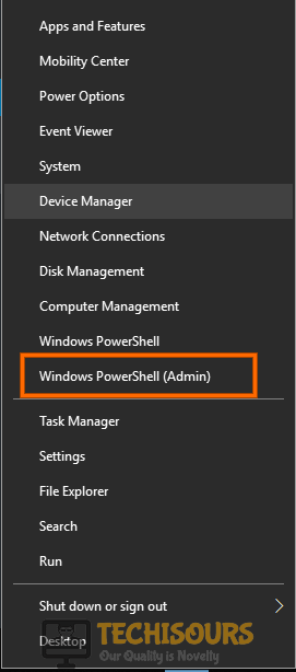 Choose Windows Powershell (Admin) to fix volume mixer won't open issue