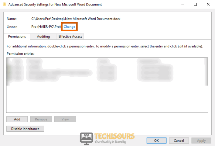 "Click on ""Change"" to fix word cannot complete the save due to a file permission error"