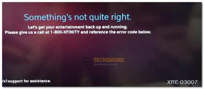 xfinity error code xre-03007