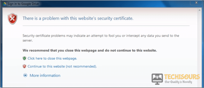 content was blocked because it was not signed by a valid security certificate