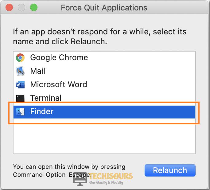 Choose relaunch to fix error code 43 mac