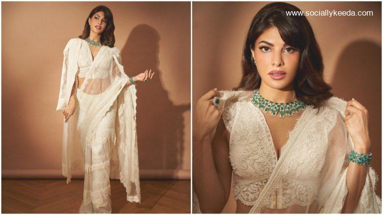 Jacqueline Fernandez Flaunts Her Love for Victorian Fashion in This White Lace Saree (View Pics)   Socially Keeda