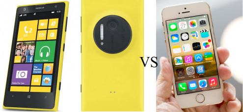 comparison of nokia lumia 1020 vs iphone 5s