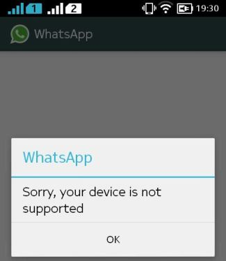 how to fix device not supported for whats app on noxia x xl and x+
