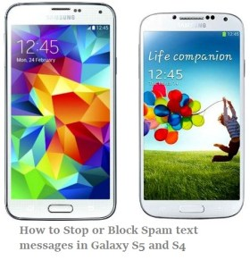 how to block or stop spam text messages in galaxy s4 and s5