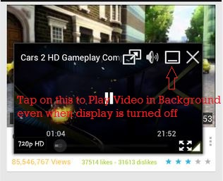 How to paly youtube videos when display or screen is turned off in android devices